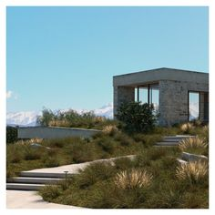 The landscape is combined with the building to create a symphony with nature. Landscape Architecture, Architecture Design, Zero Energy Building, Entrance Design, Passive House, Ecology, Facade, Mansions, Create