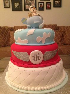Airplane baby shower cake.