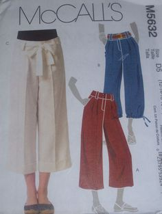 McCALL'S #M5632 LADIES PRETTY CUFFED or STRAIGHT BELTED CAPRI'S PATTERN 6-20 uc