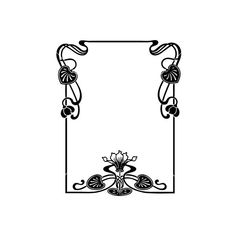 Floral art nouveau frame vector ❤ liked on Polyvore featuring frames, backgrounds, borders and picture frame