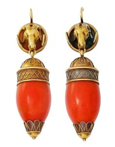 Earrings - Coral and gold