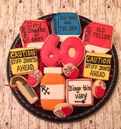 Birthday Sugar Cookies/ Decorated Sugar Cookies/ 60 th Birthday/Sugar Cookies/ Birthday Cookies/ Over the Hill Sugar Cookies 60th Birthday Ideas For Dad, 60th Birthday Party Decorations, 60th Birthday Cakes, Birthday Desserts, 50th Birthday Party, Birthday Cookies, Happy Birthday Cards, Birthday Sayings, Birthday Crafts