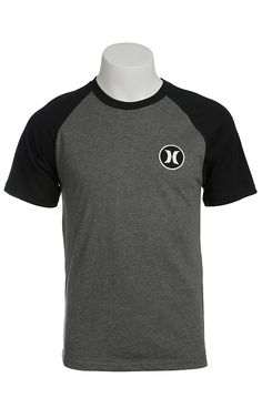 Hurley Men's Heather Graphite Grey with Black Raglan Short Sleeves Dri-Fit Logo Tee