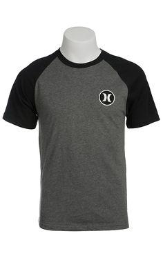 Hurley Men's Heather Graphite Grey with Black Raglan Short Sleeves Dri-Fit Logo Tee
