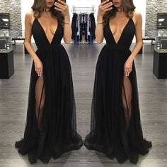 Black Deep V Neck Sexy Simple Side Split Long Party Prom Dresses, BG51514