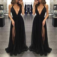 Black Deep V Neck Sexy Simple Side Split Long Party Prom Dresses, BG51514