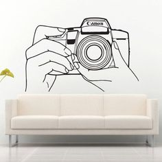 Wall decal decor decals art camera survey photo hands operator brush lens Wall Stickers Murals, Wall Decal Sticker, Painting Quotes, My Room, Wall Accents, Wall Decor, Hand Painted, Room Ideas, Inspiration