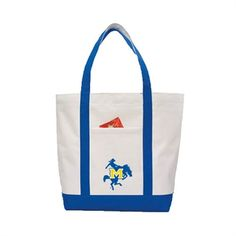 Contender White/Royal Canvas Tote  'Primary Logo'