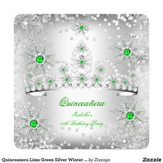 Celebrate entrance to adulthood with our Quinceañera Invitations at Zazzle! Beautiful cards with lots of styles & theme offered. Quinceanera Invitations, Birthday Party Invitations, 15th Birthday, Birthday Parties, Save The Date, Winter Wonderland, Rsvp, Lime, Green