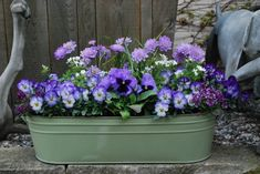 Flowers in a galvanized tin trough. The colors are beautiful together.