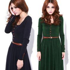 2016 Fall Winter Womens Knitted Dresses Long Sleeve Retro Midi e76ef41b6