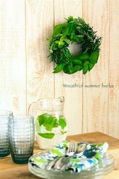 Wreath of summer herbs. Seasonal Mary Herbal