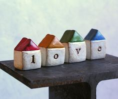 LOVEFour handmade polymer clay houses  Word Houses  by SkyeArt, $28.00