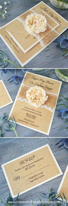 Burlap and Lace Wedding Invitation with Ivory Chiffon Flower