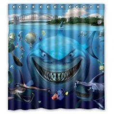 Finding nemo shower curtain dory nemo bruce shark bathroom decor