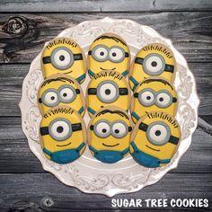 Sugar Tree Cookies - Posts Cookies For Kids, No Bake Cookies, Sugar Cookies, Minion Birthday, Minion Party, 2nd Birthday, Minions, Minion Cookies, Cartoon Cookie