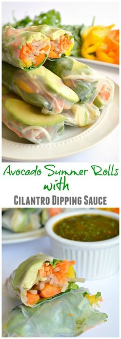 Avocado Summer Rolls served with a Sweet 'N Spicy Cilantro Dipping Sauce.  A healthy alternative to the fried egg rolls served in restaurants.