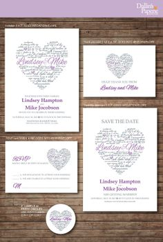 Wedding Invitation printables Heart with Names by DallinsPaperie, $35.00