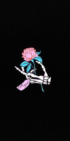 Squelette main avec rose pour toi, image swag wallpaper, photo pout fond d'… Skeleton hand with rose for you, image swag wallpaper, photo for background screen Sad Wallpaper, Tumblr Wallpaper, Aesthetic Iphone Wallpaper, Black Wallpaper, Screen Wallpaper, Aesthetic Wallpapers, Wallpaper Backgrounds, Dark Wallpaper Iphone, Skull Wallpaper