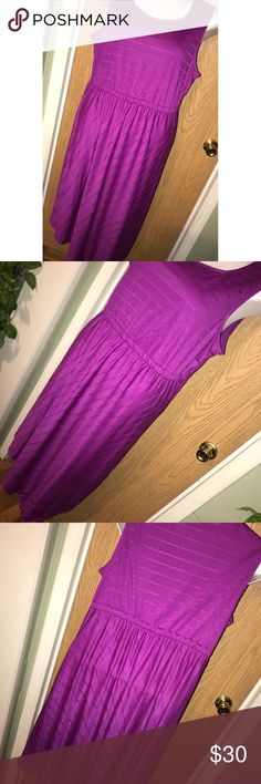 "Purple striped asymmetric dress Super pretty purple mesh striped asymmetric hem dress. Never worn. 27"" from armpit to armpit, 42"" total length to shortest part of hem. Apt. 9 Dresses"