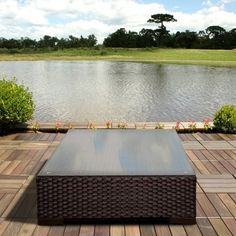 Atlantic Treviso Brown Synthetic Wicker Square Coffee Table with... ($349) ❤ liked on Polyvore featuring home, outdoors, patio furniture, outdoor tables, brown, brown patio furniture, brown coffee table, tempered glass coffee table, square outdoor table and weather resistant patio furniture