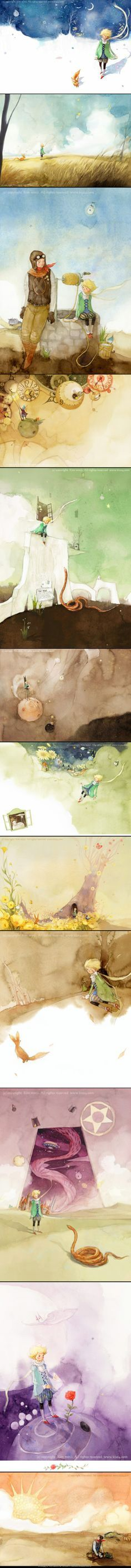 "Kim Min Ji's enchanting illustrations of Antoine de Saint-Exupéry's The Little Prince ( ""El Principito"" Antoine de Saint-Exupery ) Kim Min Ji, Photo Images, The Little Prince, Children's Book Illustration, Book Illustrations, Illustrators, Book Art, Concept Art, Art Drawings"