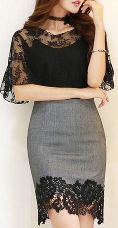 StyleOnme_Floral Lace Hem Pencil Skirt #elegant #black #lace #hem #skirt #feminine #evening #nightout #floral