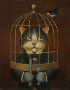Victorian Cat and Bird Portrait. $20.00, via Etsy.