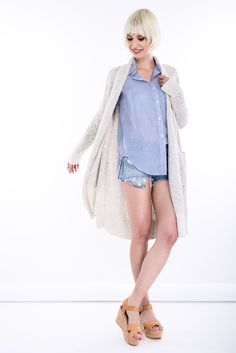 SHOP THE LOOK  > #manzetti #mymanzetti #denimandsupply #cardigan #stripe #shirt #denim #jeans #shorts #woman #style #trends #clothing #store #ootd #lookoftheday #rome Denim And Supply, Woman Style, Long Cardigan, Rome, Denim Jeans, Ruffle Blouse, Ralph Lauren, Beige, Trends