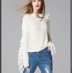 white fringe sweater for women pullover hollow knit sweater autumn wear