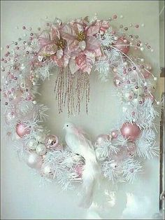 Pretty Pastel Pink Holiday Wreath!!! Bebe'!!! Love the White Dove!!!