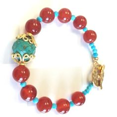 Red Agate with Turquoise Bracelet by GinnyTaylorDesigns on Etsy