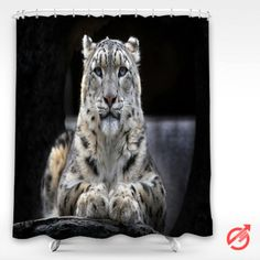 Cheap Leopard White sitting on a rock Shower Curtain