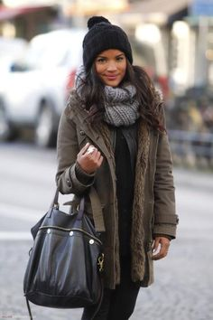 Chunky scarf, beanie, and long coat winter look
