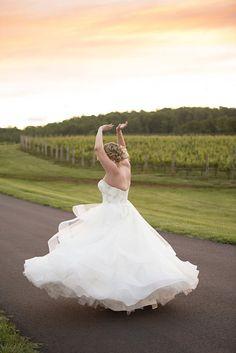 Albemarle Estate at Trump Winery Wedding | Bride Twirling at Sunset