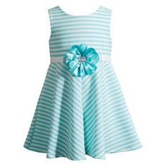 This Youngland girls' dress, featuring a fun striped pattern and floral accent at the waist, is a great pick for any special occasion. In mint/white. PRODUCT FEATURES Scoopneck New with tags Size 24 months Kohls Outfits, Girl Outfits, Girls World, Toddler Girl Dresses, Flower Dresses, Kind Mode, Striped Dress, Baby Dress, Kids Fashion