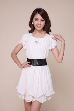 Stylish Scoop Neck Openwork Solid Color Chiffon Women's Dress, AS THE PICTURE, S in Dresses 2013   DressLily.com