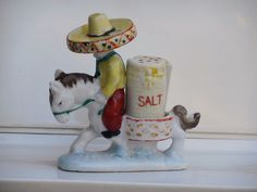 Vintage Japan MEXICAN ON DONKEY Salt and Pepper Shakers :D