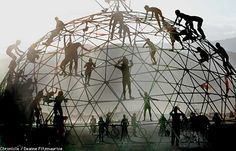 Fuller's famous Geodesic Dome: Light weight--incredibly stable without supporting beams-- minimal surface for losing heat or cold air.  The dome-shape is immensely superior to the rectangle for human dwelling according to Bucky.