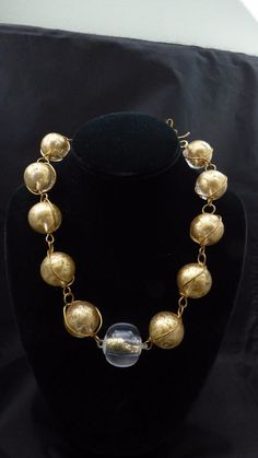 Signed ABRA Couture Brass Copper? Wire & Art Glass Gold Beads Gold Dust Gorgeous #Abra #StrandString