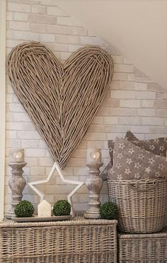 Shabby chic in 2019 indoor wicker furniture, home decor, white wicker furni Wicker Hearts, Wooden Hearts, Coastal Living Rooms, Living Room Decor, Cosy Cottage, Indoor Wicker Furniture, Heart Wall Decor, White Wicker, Sisal