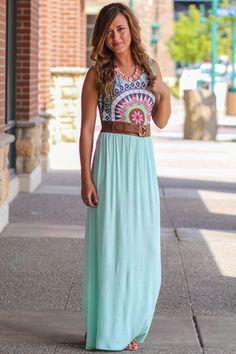 Super Star Sleeveless Printed Maxi Dress (Mint)
