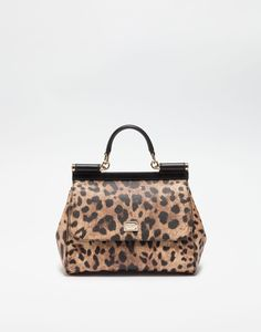 6c1766674b1 MEDIUM SICILY BAG IN LEOPARD TEXTURED LEATHER Dolce Gabbana Online, Leather  Bags, Leather Purses