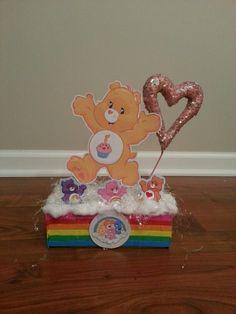 carebear centerpiece, rainbow Birthday Party Centerpieces, Baby Shower Centerpieces, 1st Birthday Parties, 3rd Birthday, Care Bear Party, Care Bear Birthday, Baby Shower Pin, 2nd Baby Showers, Girl Scout Bridging