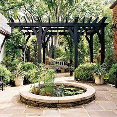 Gartengestaltung Teich Holzpergola Natursteine
