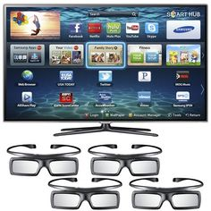 "Samsung UN55ES6580 55"" 3D LED HDTV 1080p 120Hz Smart TV W/ 4 Pairs 3D Glasses - UN55ES6580FXZA - 2012 TV"