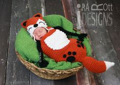 Roxy the Red Forest Fox, Crochet Hat  and Sleeping Bag Set, Made to Order fro Newborn Size