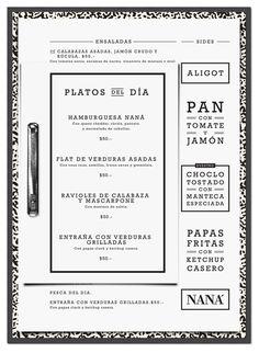 menu for Naná Restaurant // design by Horizontal
