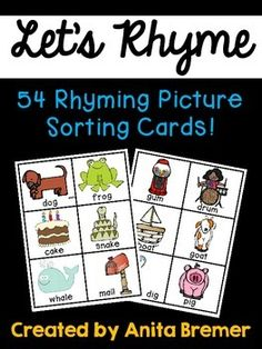 This pack includes 54 picture cards students will match to practice their rhyming skills!Print, cut, and laminate the picture cards.Mix the cards. Students will sort the cards, matching the rhyming pairs.Perfect as a literacy center or for use during student assessment.