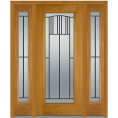 Milliken Millwork 68.5 in. x 81.75 in. Madison Decorative Glass Full Lite Finished Fiberglass Oak Exterior Door with Sidelites, Fruitwood